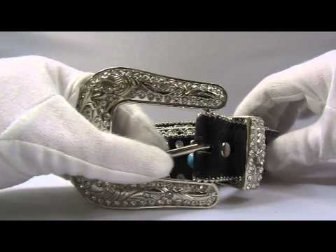 Vision China Sourcing Excess Stock - BELT5898 - Bling Studded Turquoise Rhinestone Leather Belt