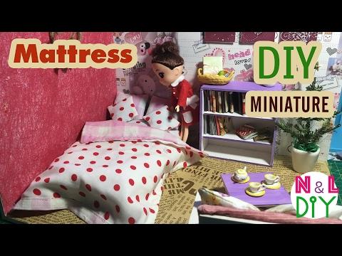 DIY Miniature Doll Bedding Set Tutorial - Mattress, Bed Sheet, Blanket & Pillows