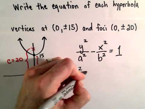 Conic Sections, Hyperbola : Find Equation Given Foci and Vertices