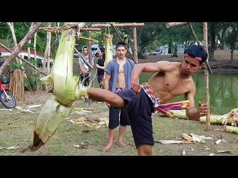Muay  Thai  banana tree kick training