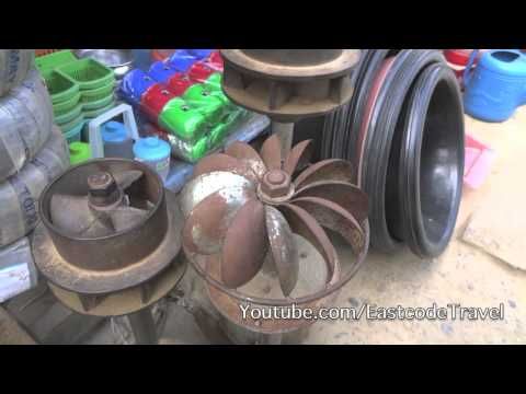 small hydro turbine to generate electricity from Nam Ou  river Muang Khoa   Lao