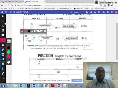 Math 7H Fractions, Decimals, Percents