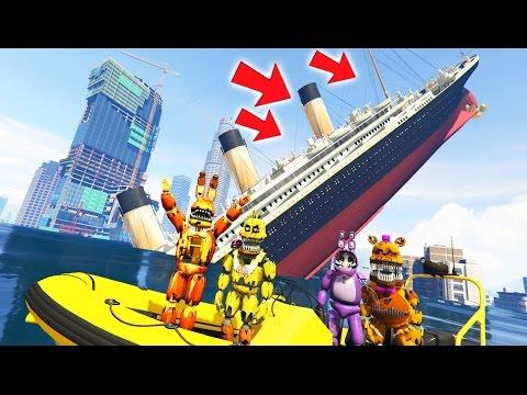ANIMATRONICS vs SINKING TITANIC TSUNAMI MOD! (GTA 5 Mods For Kids FNAF Funny Moments)