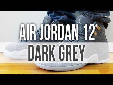 AIR JORDAN 12 RETRO DARK GREY on Feet and Close Up