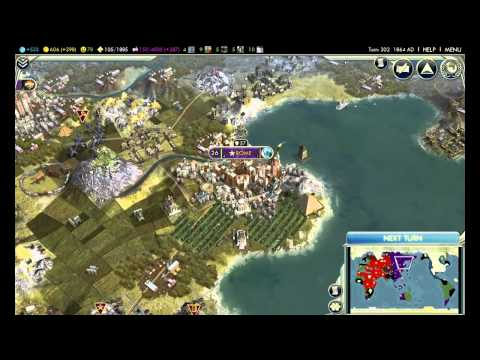 Civilization V city growth from the start to the end (must see video)