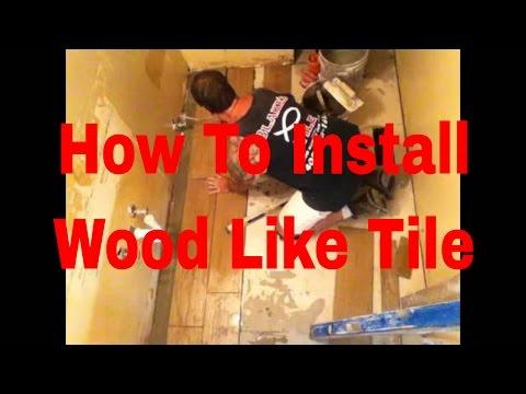 How to install Wood Like Tile Flooring In Bathroom #DaveBlake Licesne Tile Comtractor