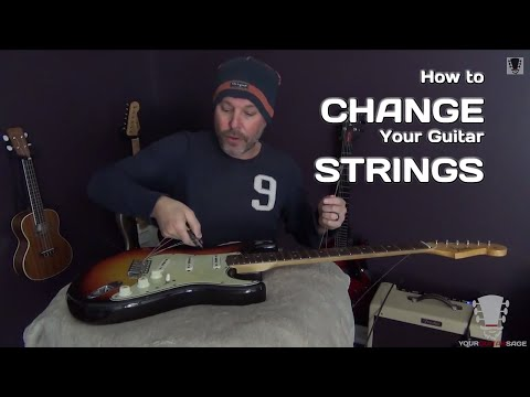 Changing Strings on a Fender Stratocaster Electric Guitar
