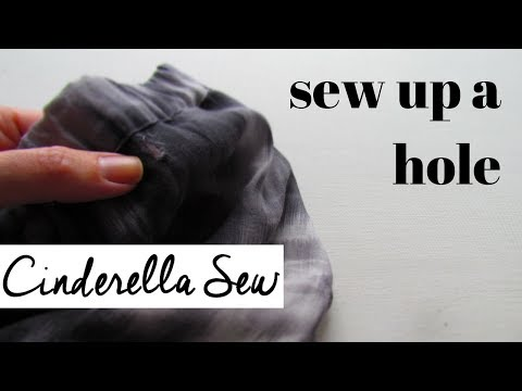 Sew up a hole - Close a hole in clothing - Stitch holes shut with hand sewing no machine