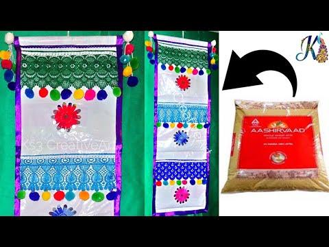 DIY - Hanging pocket organizer from atta bag | Waste plastic bag Reuse - 2# | Best out of waste