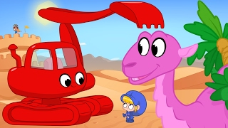 Morphle the digger in the Desert - Digger and Excavator video for kids