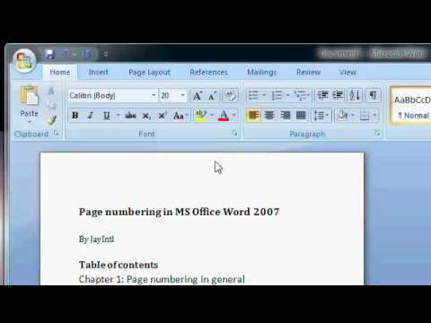 Tutorial: Adding page numbering in MS Office Word 2007