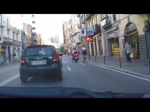Spain by Road - Girona - autoroute to City Centre car park
