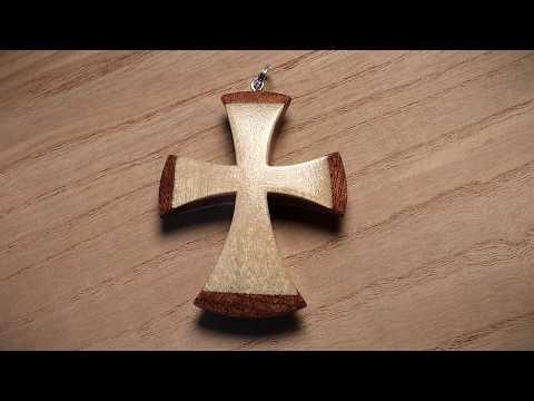 How To Make A Wooden Cross Pendant Mahogany Birch / Drewniany krzyżyk