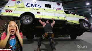 WWE Raw 4/10/17 Braun flips AMBULANCE