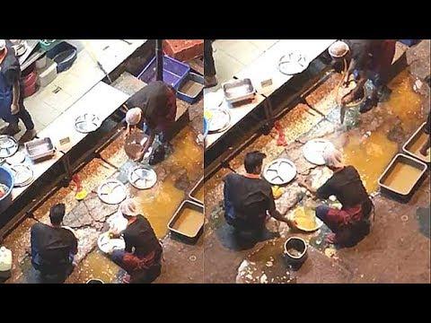 Bangsar eatery washing plates over pothole