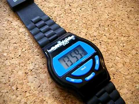 Black & Blue Smiggle talking wristwatch / watch with alarm sounds by Longwalkmouse