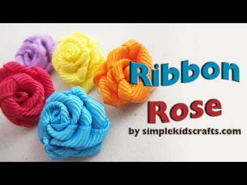 How to make SMALL RIBBON ROSES with grosgrain ribbon - Ribbon Craft - EP 576 - simplekidscrafts