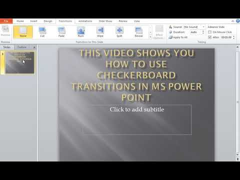 How to use Checkerboard Transitions in MS Power Point