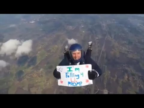 Teen's Daring Skydiving Promposal Pays Off When His Girlfriend Says Yes