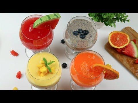 ৪টি ভিন্ন স্বাদে ঝটপট মজাদার ও স্বাস্থ্যকর ফলের শরবত/ জুস | ইফতার স্পেশাল | 4 fruit Juices