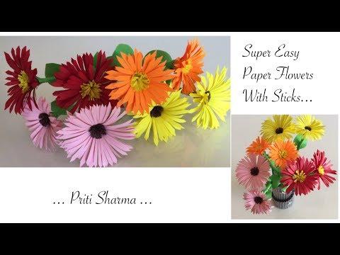 DIY : Easy Way To Make Paper Flower Chrysanthemums / Paper Flower Craft   Priti Sharma