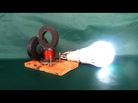 Experiment free energy light bulbs electricity with magnets & motor generator - Simple at home