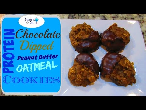 How to Make Easy & Delicious Protein Cookies--Chocolate Dipped Peanut Butter Oatmeal Protein Cookies