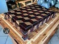 3-D END GRAIN CUTTING BOARD WITH  STAND (HIDDEN COMPARTMENT)