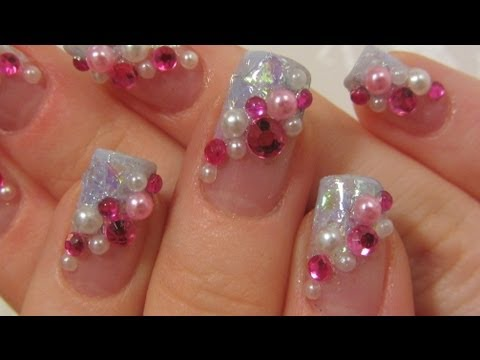 Japanese Pink and Light Blue Kawaii Design with Rhinestones and Half Pearls Nail Art Tutorial