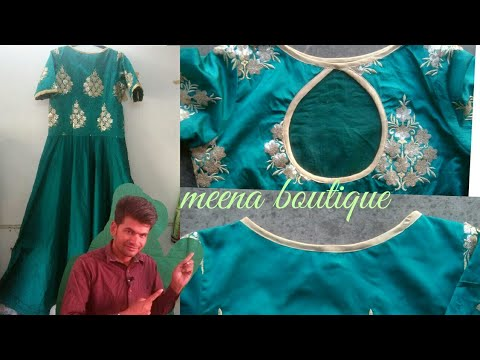 LONG GOWN CUTTING AND STITCHING IN HINDI / BOAT NECK  / UMBRELLA CUT GOWN
