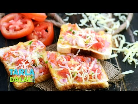 Onion, Tomato and Cheese Open Toast by Tarla Dalal