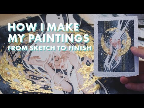 HOW I MAKE WATERCOLOR PAINTINGS // Sketch to Finish