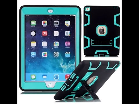 Black Heavy Duty High Impact Shockproof Silicone Rubber Hard Case Cover + Kickstand For iPad mini
