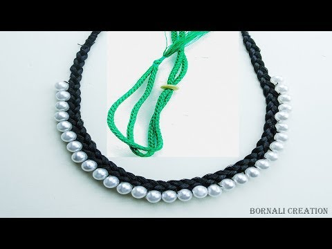 how to make silk thread necklace| super easy way step by step necklace tutorial by bornali creation
