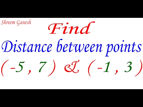 Find distance between points ( -5 , 7 ) & ( -1 , 3 ) by Distance formula.Exercise 7.1 question 1(2)