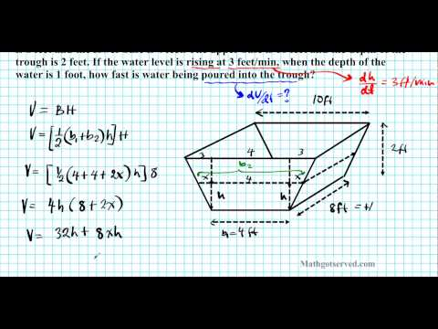 related rates trapezoidal prism trough u4 extra calculus