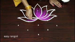 easy color Shangu kolam with Lotus * simple rangoli * latest small muggulu designs by Suneetha