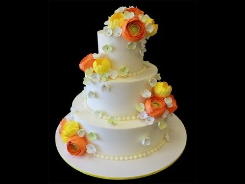 White Wedding Flower Cake