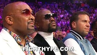 FLOYD MAYWEATHER REACTION TO PACQUIAO DROPPING AND BEATING THURMAN: