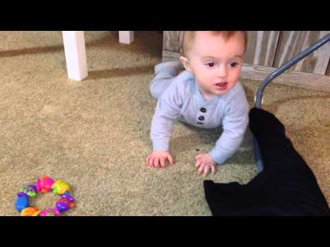 Little Baby Starts to Crawl Backwards