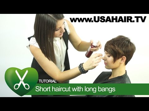 Short haircut with long bangs. parikmaxer TV USA