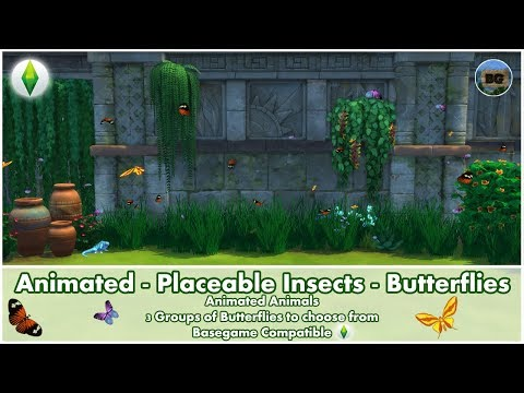 Bakies The Sims 4 Custom Content: Animated - Placeable Insects - Jungle Butterflies 🦋