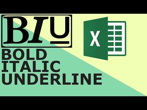 Bold Italic Underline  - Excel keyboard shortcuts