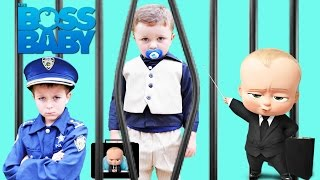 Dreamworks BOSS BABY goes to JAIL!! Funny Kids Parody Video