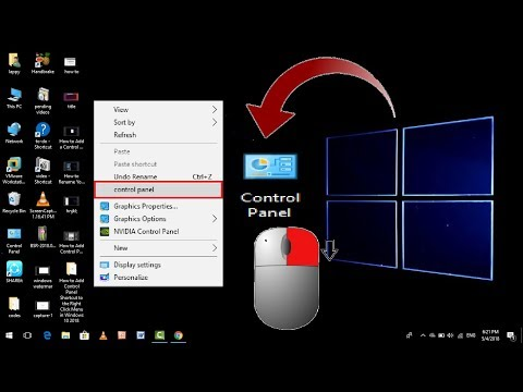 How to Add Control Panel Shortcut to the Right Click Menu in Windows 10 2018