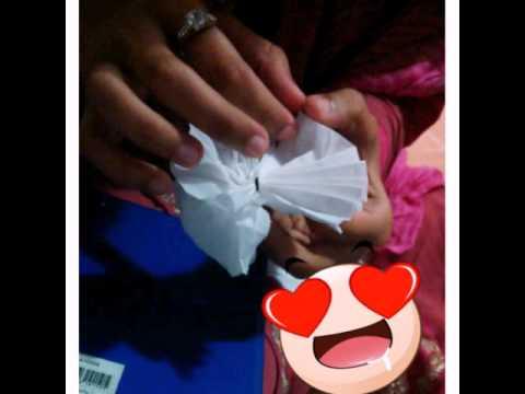Tissue paper hair clip (白色花)