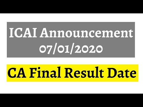 ICAI Announcement 01/01/2020 || CA Final Result Date Nov 2019 Examination