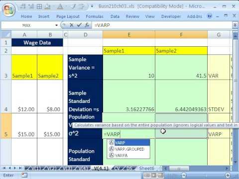 Excel & Statistics 41: Sample Standard Deviation (Variability)