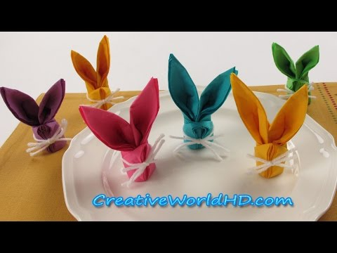 DIY Paper Crafts:Bunny/Rabbit Napkins Folding - How to Easter Kids Origami Tutorial