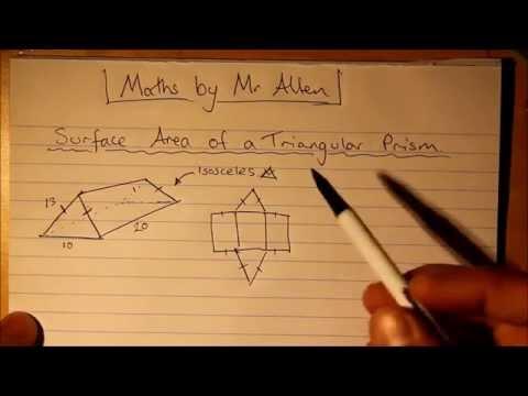 Surface Area Triangular Prism - Isosceles - Pythagoras